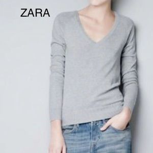 Zara Gray Cotton Long Sleeve V-neck Sweater
